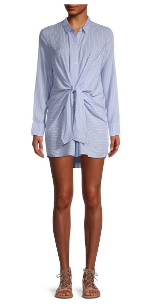 LUMIE Knotted Pinstripe Shirtdress in blue white