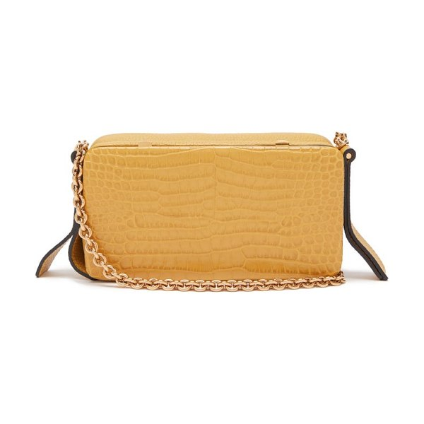 LUTZ MORRIS elise crocodile-effect leather shoulder bag in yellow