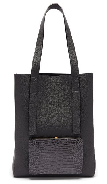 LUTZ MORRIS seveny grained-leather tote bag in navy
