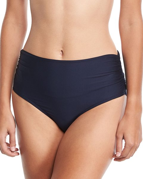 "Luxe by Lisa Vogel Premier High-Waist Banded Swim Bikini Bottom in blue - Luxe by Lisa Vogel ""Premier"" swim bottom in solid, shiny..."