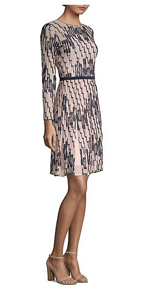 M Missoni Bicolor Wave Print Dress In Blush Geometric Accentuates Textured Quality Of