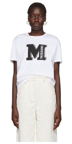 M Missoni white missoni t-shirt in s906i white