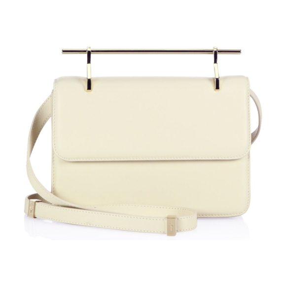 M2Malletier la fleur du mal leather crossbody bag in light beige - Minimalist leather handbag updated with sleek handle...