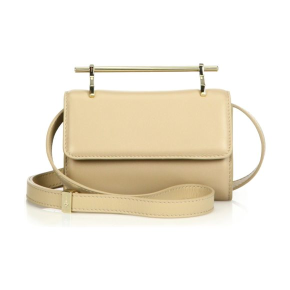 "M2Malletier mini fabricca leather crossbody bag in sand - Boxy leather silhouette with sleek ""needle"" handle...."