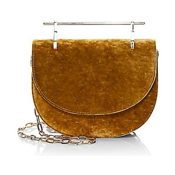 M2Malletier mini half moon silk velvet crossbody bag in gold - Signature metal top bar gives this velvet bag a modern...