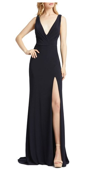 Mac Duggal cowl back surplice knit gown in midnight