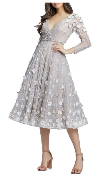 Mac Duggal floral applique long sleeve lace fit & flare dress in beige blush