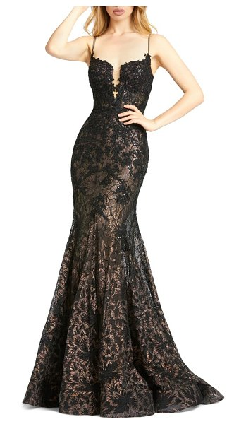 Mac Duggal macduggal sequin illusion lace trumpet gown in black