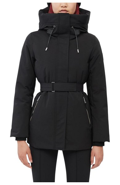 Mackage jeni water resistant down & feather fill belted parka in black