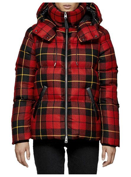 "Mackage Miley Plaid Puffer Coat w/ Detachable Hood in red/black - Mackage ""Miley"" puffer coat in plaid. Stand collar;..."