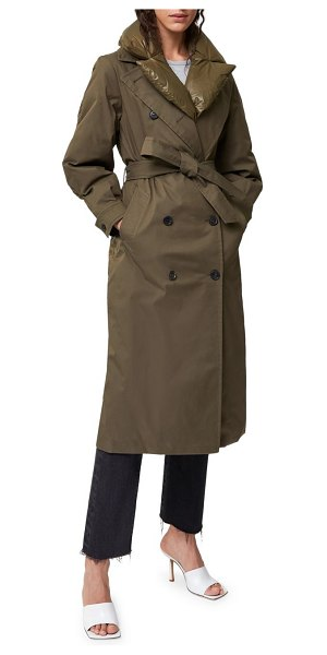 Mackage sage double-breasted down trench coat in army