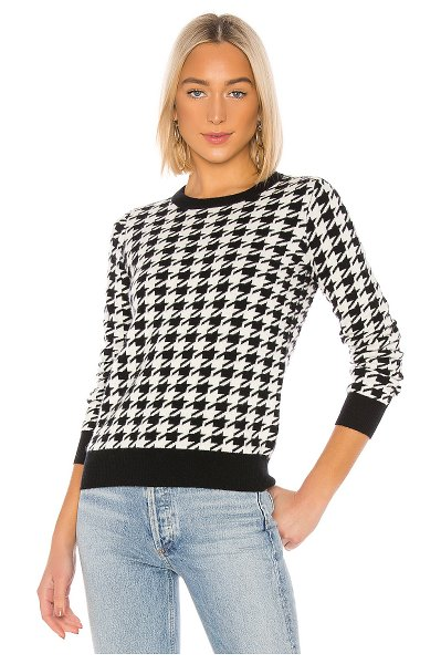 Madeleine Thompson happy pullover in black & white houndstooth