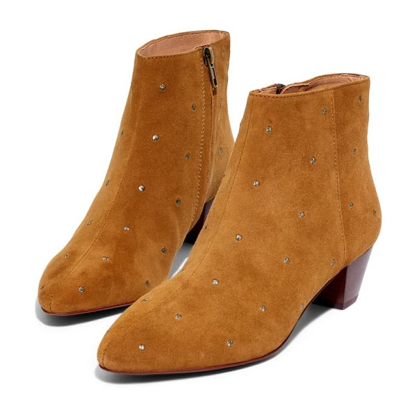 Madewell bea embroidered suede boot in equestrian brown suede