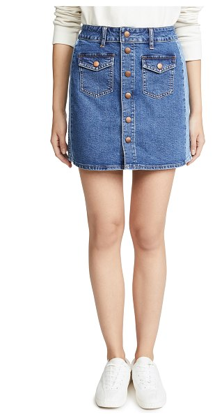 edc0be03fc Madewell Beverly Pieced Jean Skirt in Blue