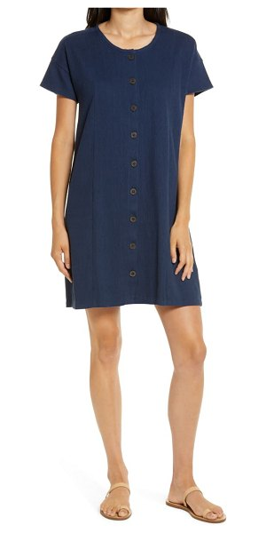 Madewell button front corduroy shift dress in deep navy