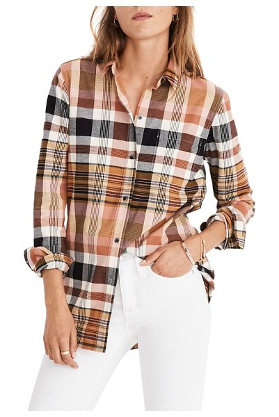 Madewell classic ex-boyfriend plaid shirt in dried coral