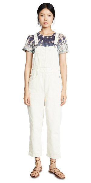 Madewell corduroy straight leg overalls in cloud lining