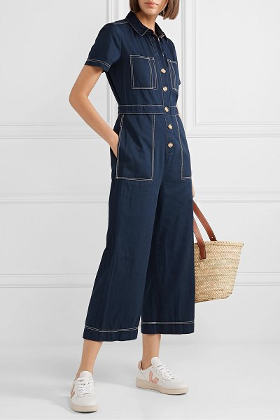 Madewell cotton-twill jumpsuit in storm blue