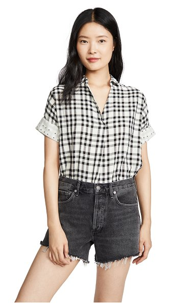 Madewell courier button back top in krissa gingham true black