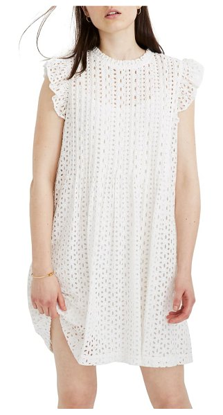 Madewell eyelet ruffle sleeve pintuck minidress in lighthouse