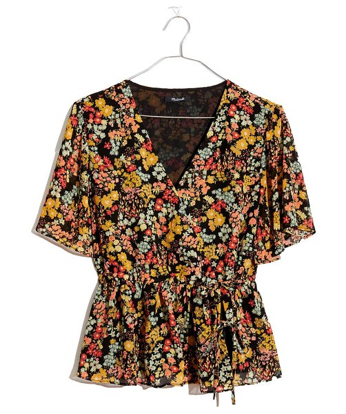 Madewell flower garden short sleeve peplum wrap top in packed floral almost