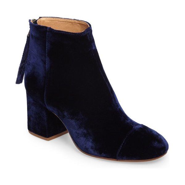 Madewell glenda bootie in night vision velvet - A covered block heel adds trend-right height to an...