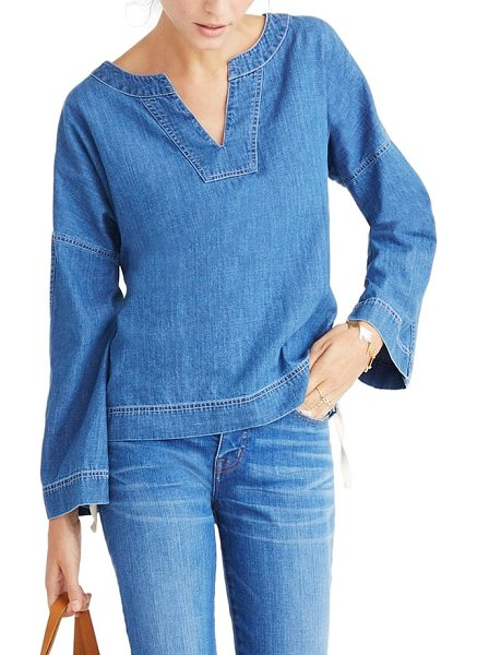 MADEWELL lace-up denim top - A swingy denim top is revamped with cool lace-up sides...