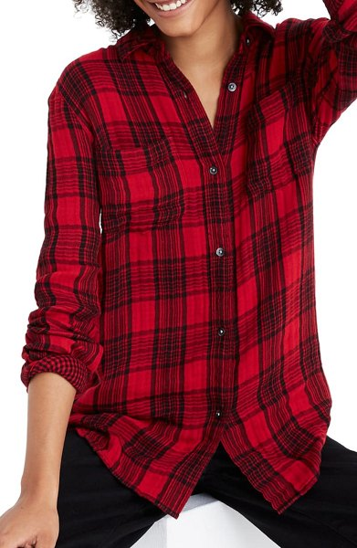 Madewell lucien plaid classic ex-boyfriend shirt in double weave gingham plaid