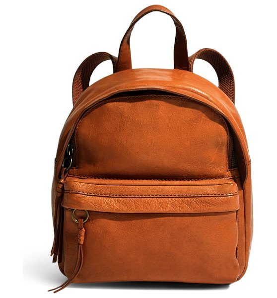 Madewell mini lorimer leather backpack in english saddle
