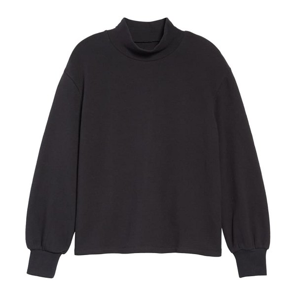 Madewell mock neck bubble sleeve sweatshirt in true black