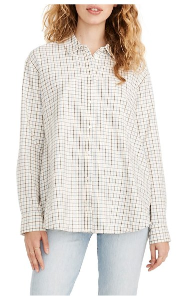 Madewell oversize ex-boyfriend plaid shirt in grey gradation plaid