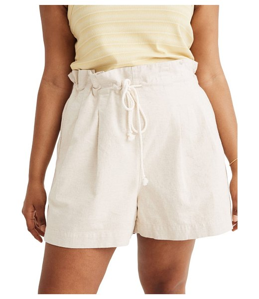 Madewell pull-on paperbag cotton & linen shorts in heathered natural twill