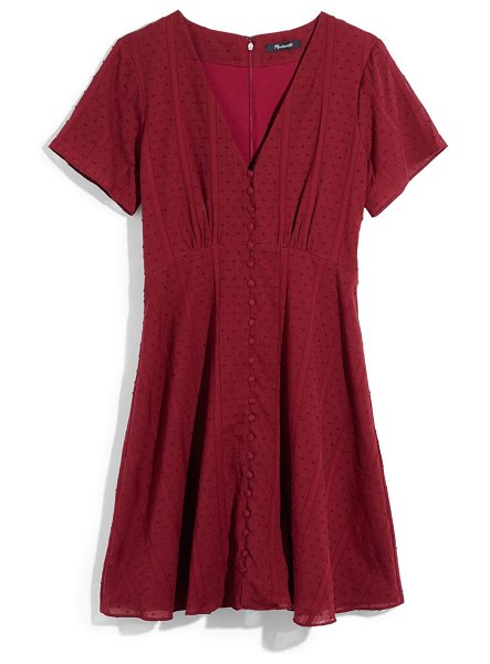 Madewell swiss dot button front swing dress in dusty burgundy