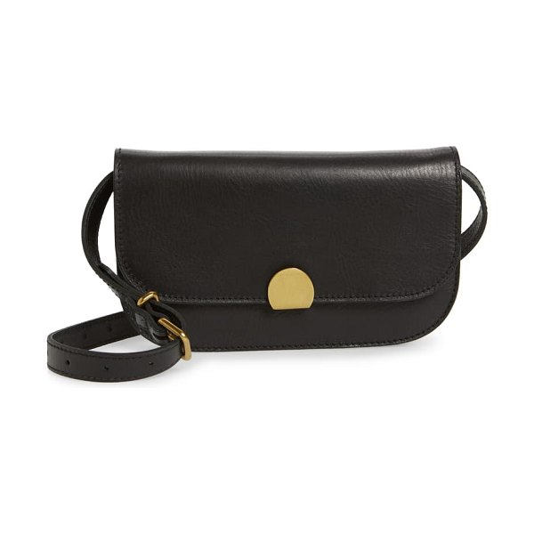Madewell the abroad leather convertible crossbody bag in true black