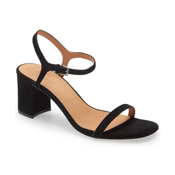 Madewell the hollie ankle strap sandal in true black suede