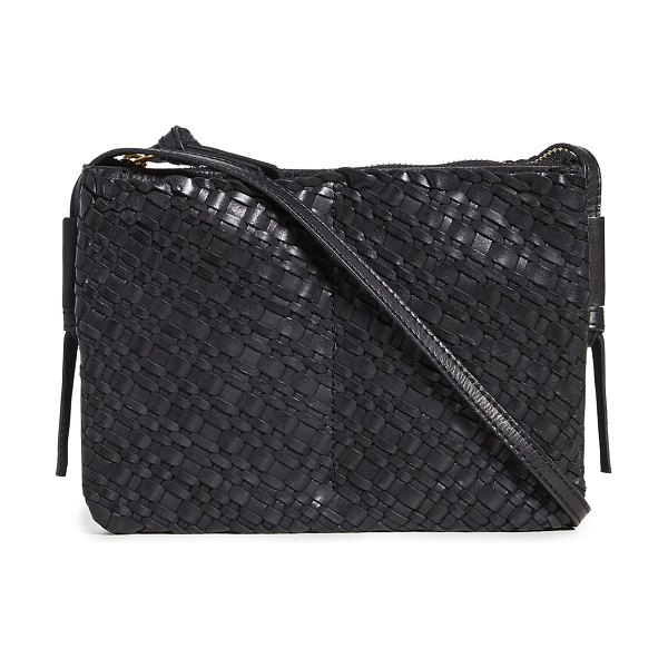 Madewell the knotted crossbody bag in woven leather in true black