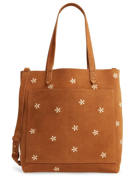 Madewell the medium transport tote: daisy embroidered suede edition in equestrian brown