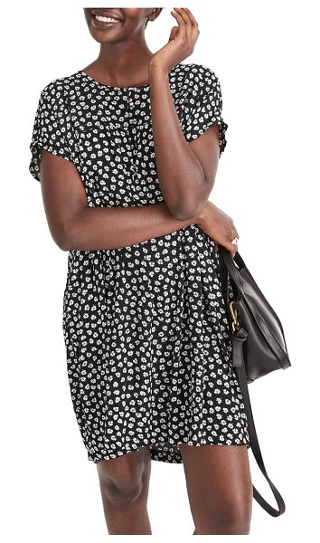 Madewell woodcut flower shirred easy dress in marlow floral almost black