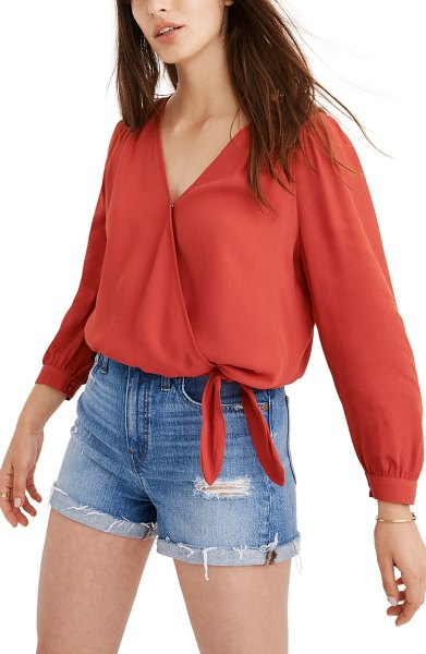 Madewell wrap top in bright ember