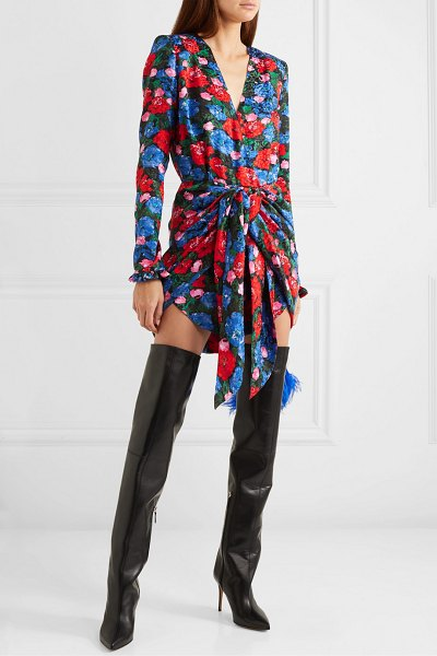 Magda Butrym lesina knotted floral-print silk-jacquard mini dress in blue