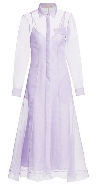 Maggie Marilyn keep it together silk tulle maxi a-line shirtdress in lavender