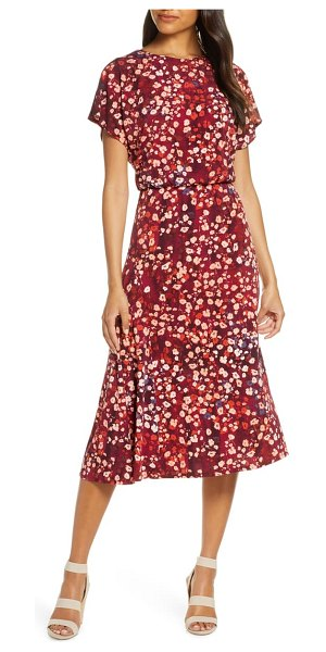 Maggy London floral a-line dress in wine/ brick