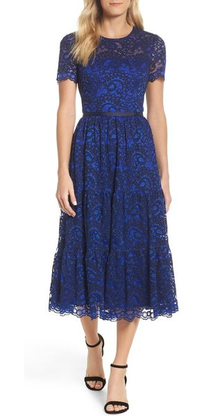 Maggy London Lace Midi Dress In Blue Shopstasy