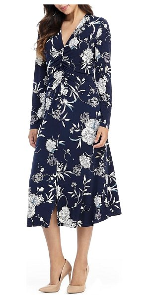 Maggy London long sleeve floral ruched jersey midi dress in navy/ teal