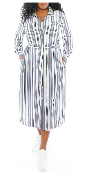 Maggy London stripe long sleeve shirtdress in soft white/ blue