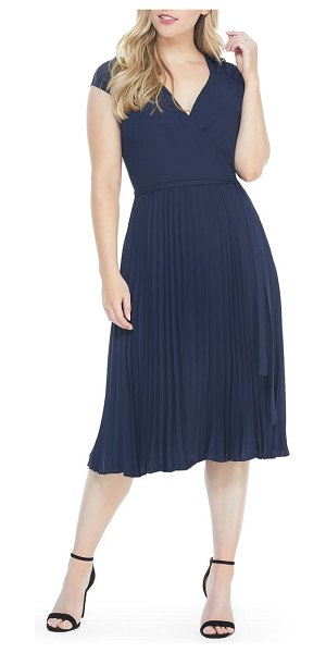 Maggy London vienna belted pleated georgette midi dress in navy
