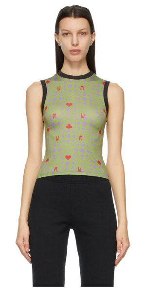 Maisie Wilen green and purple muscle beach tank top in world clique green