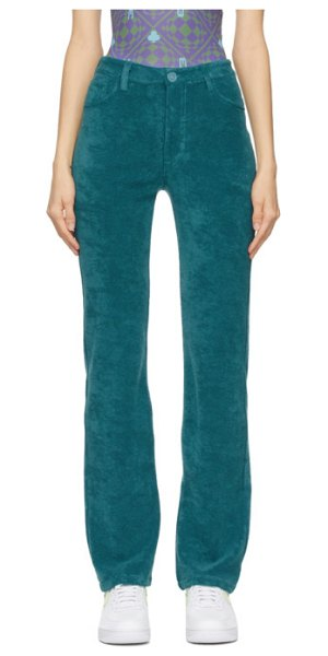 Maisie Wilen green mockumentary trousers in teal