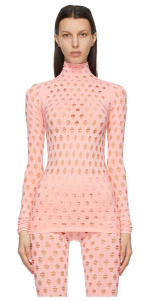 Maisie Wilen pink perforated turtleneck in baby girl