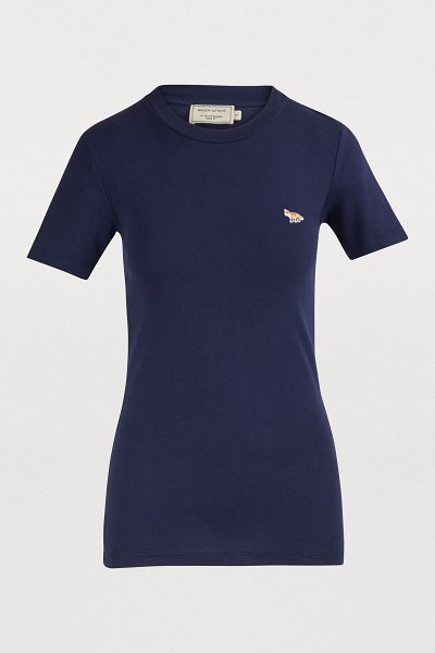 Maison Kitsuné Fox T-shirt in navy - Maison Kitsuné subtly takes on an essential with this...